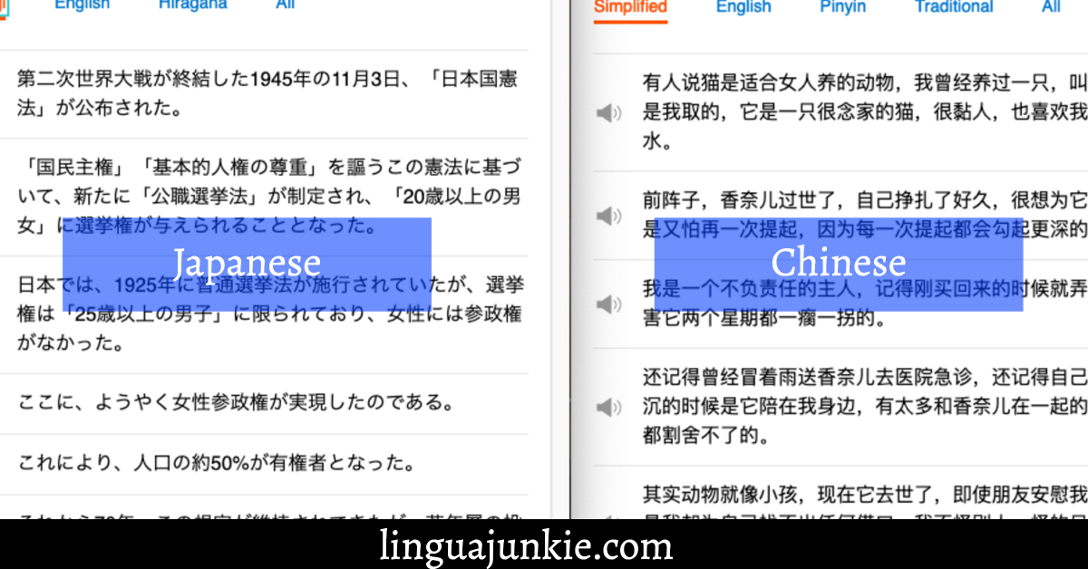 difference between Japanese and Chinese writing