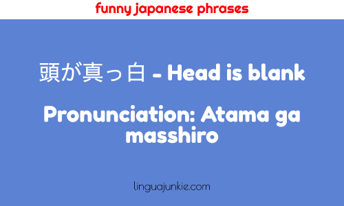 funny japanese phrases 頭が真っ白 - Head is blank