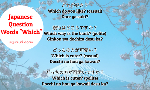 say which in japanese - japanese question words